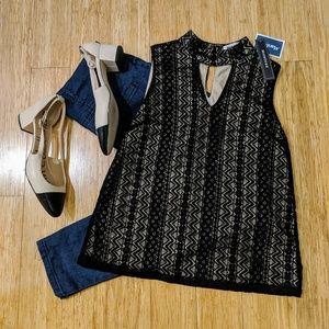 Monteau Black Lace Overlay Sleeveless Blouse, S